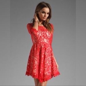 Free People Red Leaf Lace Dress